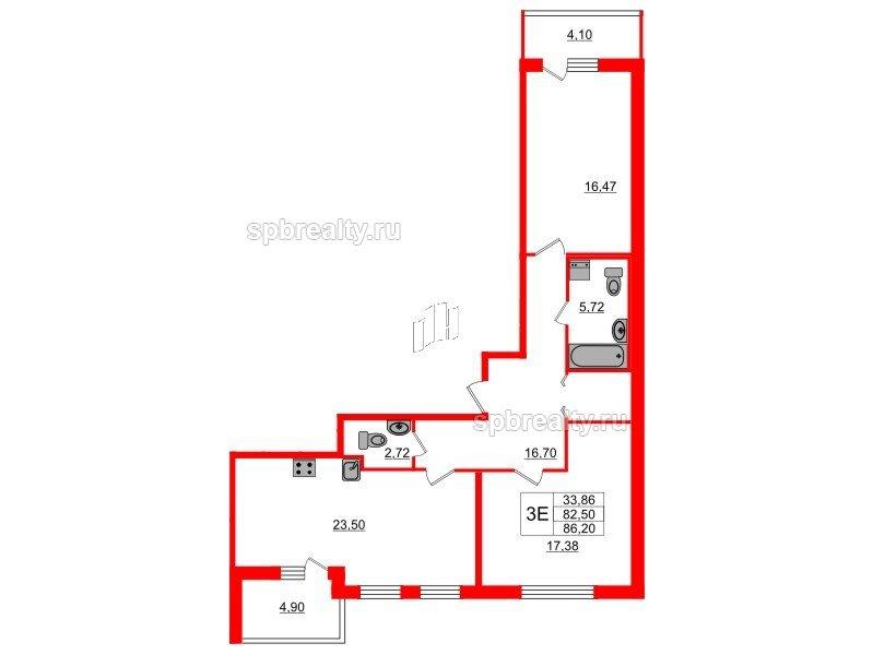 Планировка Двухкомнатная квартира площадью 82.49 кв.м в ЖК «Триумф Парк»