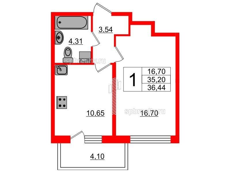 Планировка Однокомнатная квартира площадью 35.2 кв.м в ЖК «Триумф Парк»
