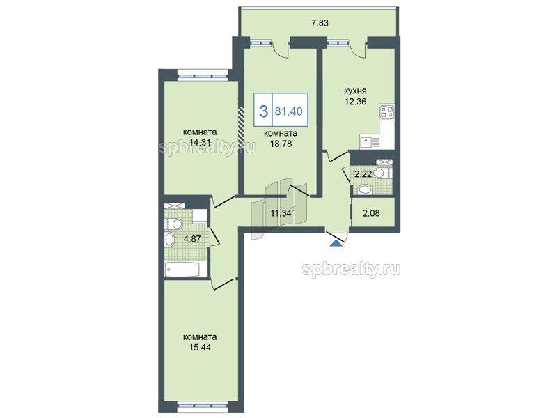 Планировка Трёхкомнатная квартира площадью 81.4 кв.м в ЖК «Триумф Парк»