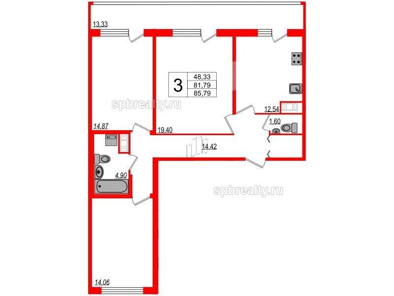 Планировка Трёхкомнатная квартира площадью 81.79 кв.м в ЖК «Триумф Парк»
