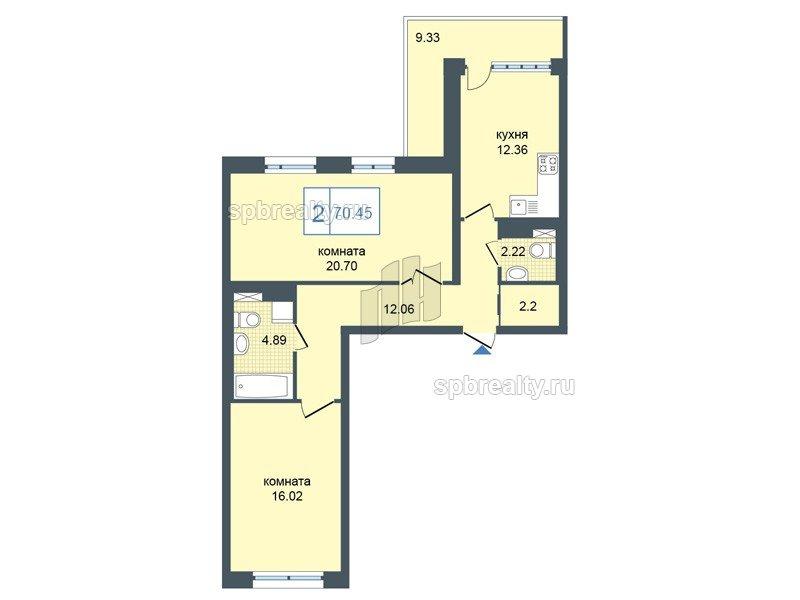 Планировка Двухкомнатная квартира площадью 70.45 кв.м в ЖК «Триумф Парк»