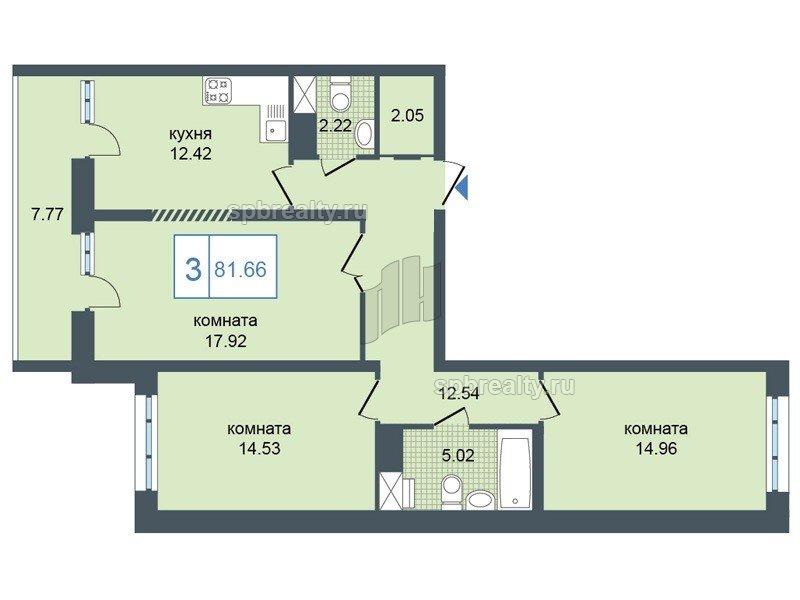 Планировка Трёхкомнатная квартира площадью 81.66 кв.м в ЖК «Триумф Парк»