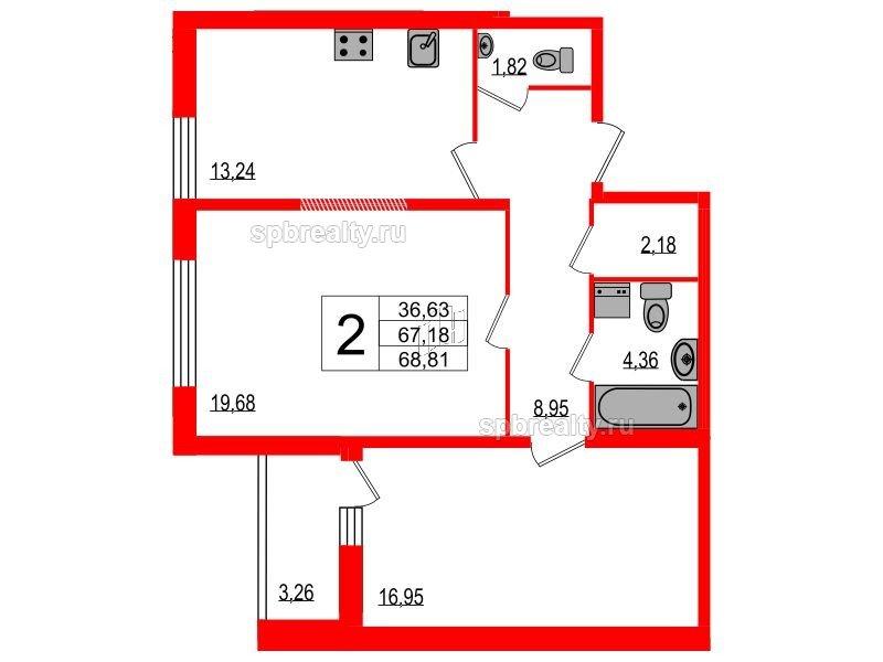 Планировка Двухкомнатная квартира площадью 67.18 кв.м в ЖК «Триумф Парк»