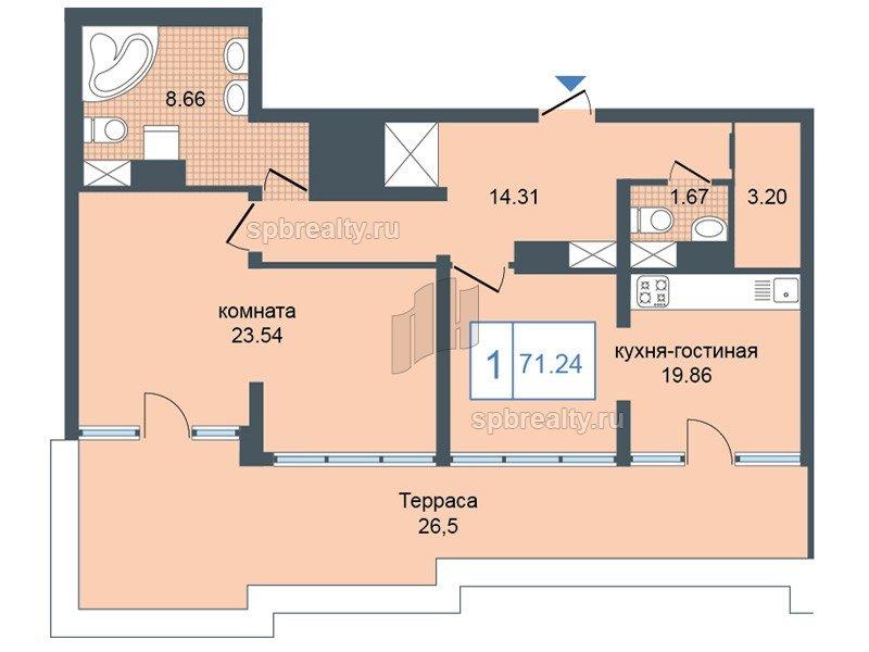 Планировка Однокомнатная квартира площадью 70.6 кв.м в ЖК «Триумф Парк»