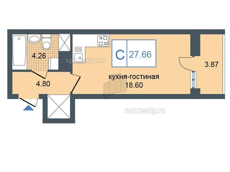 Планировка Студия площадью 27.66 кв.м в ЖК «Триумф Парк»