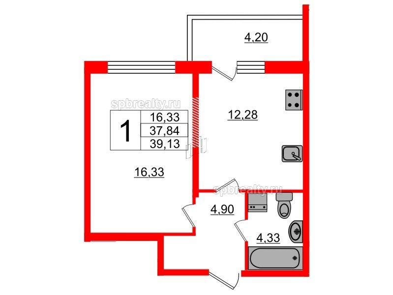 Планировка Однокомнатная квартира площадью 37.84 кв.м в ЖК «Триумф Парк»