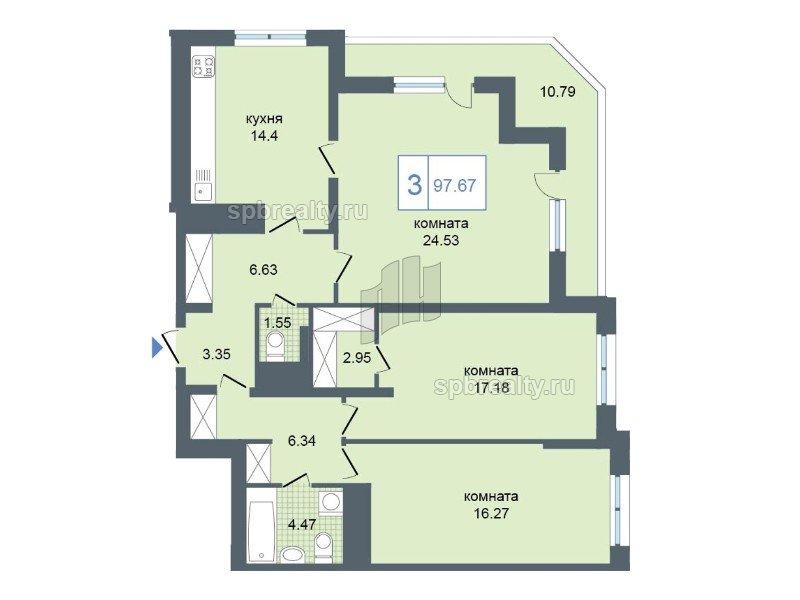 Планировка Трёхкомнатная квартира площадью 98.8 кв.м в ЖК «Триумф Парк»