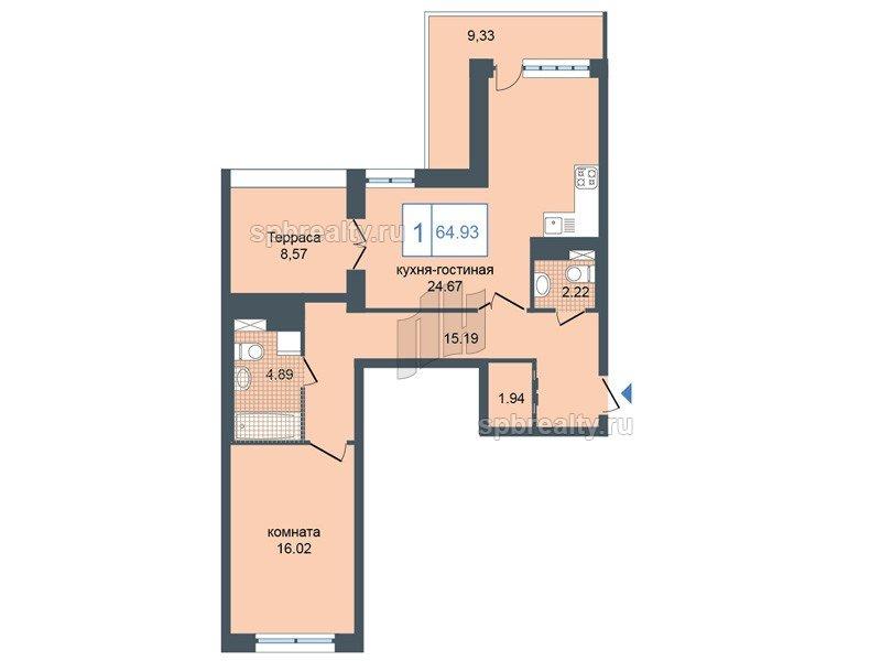 Планировка Однокомнатная квартира площадью 67 кв.м в ЖК «Триумф Парк»