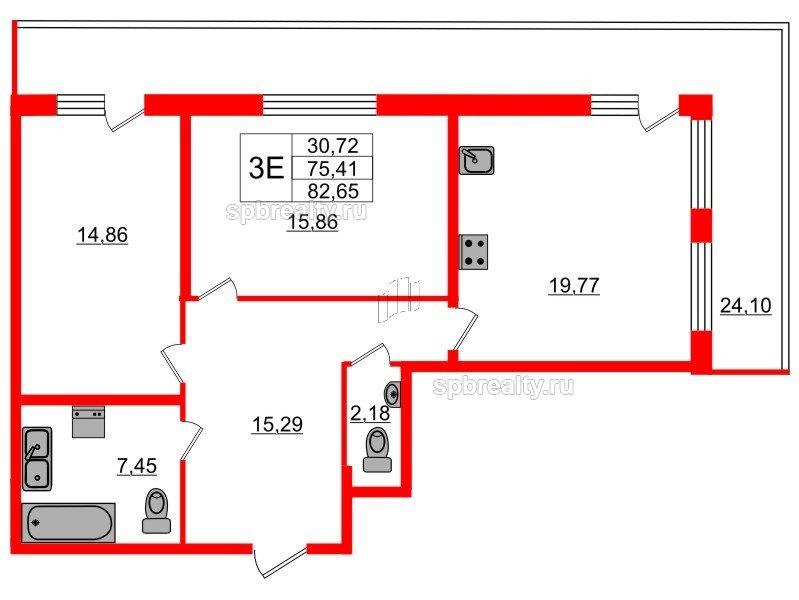 Планировка Двухкомнатная квартира площадью 75.41 кв.м в ЖК «Триумф Парк»