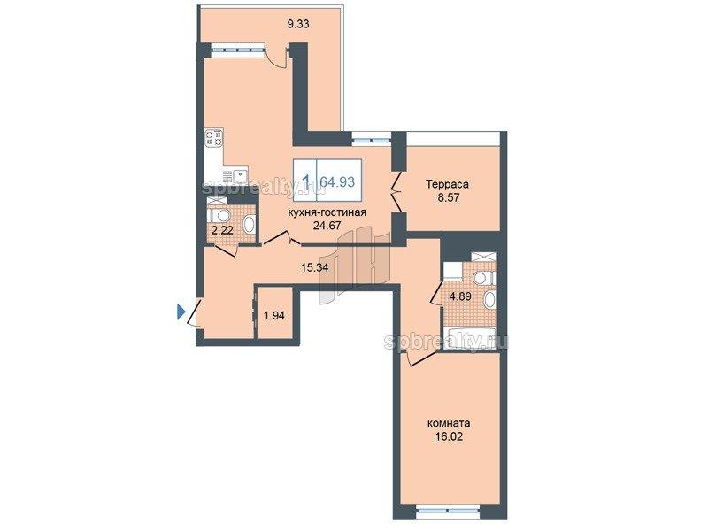 Планировка Однокомнатная квартира площадью 66.9 кв.м в ЖК «Триумф Парк»