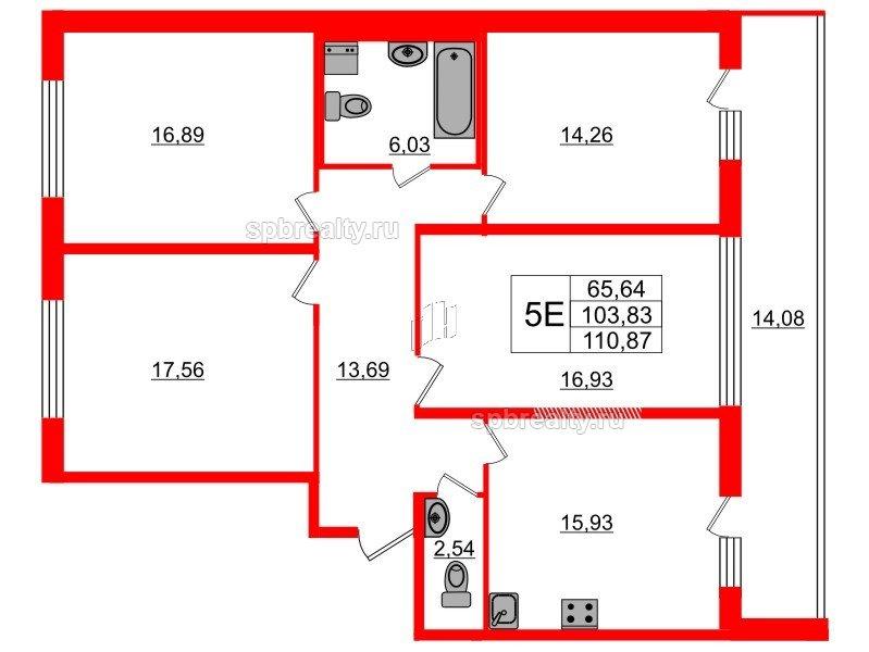 Планировка Четырёхкомнатная квартира площадью 103.83 кв.м в ЖК «Триумф Парк»