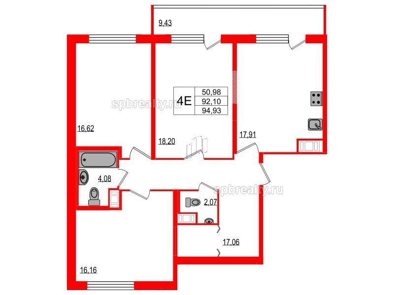 Планировка Трёхкомнатная квартира площадью 92.1 кв.м в ЖК «Триумф Парк»