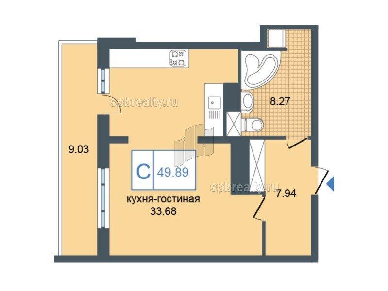 Планировка Студия площадью 49.89 кв.м в ЖК «Триумф Парк»
