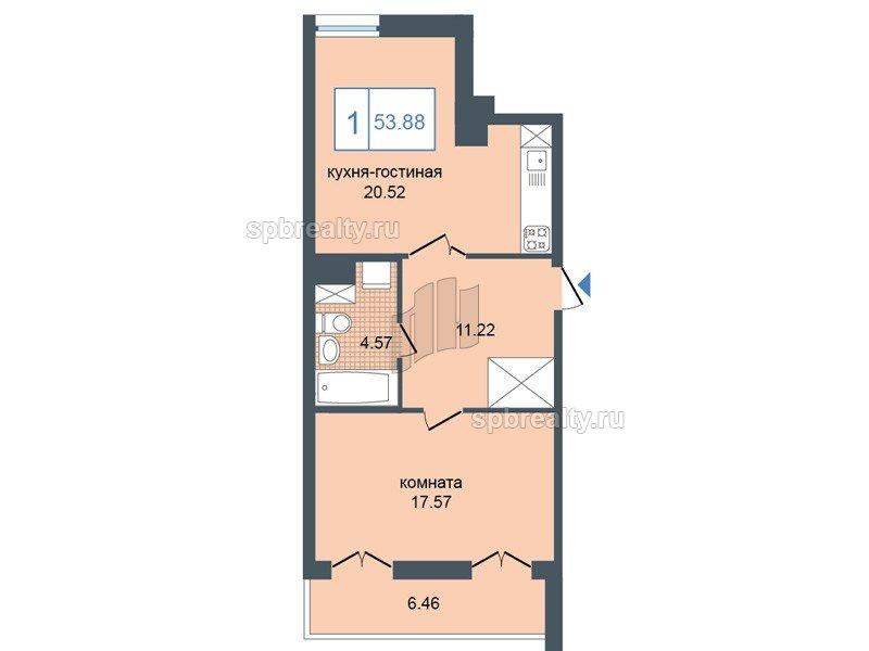 Планировка Однокомнатная квартира площадью 53.88 кв.м в ЖК «Триумф Парк»