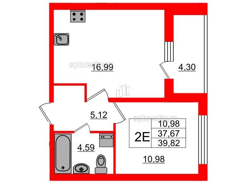Планировка Однокомнатная квартира площадью 37.68 кв.м в ЖК «Триумф Парк»