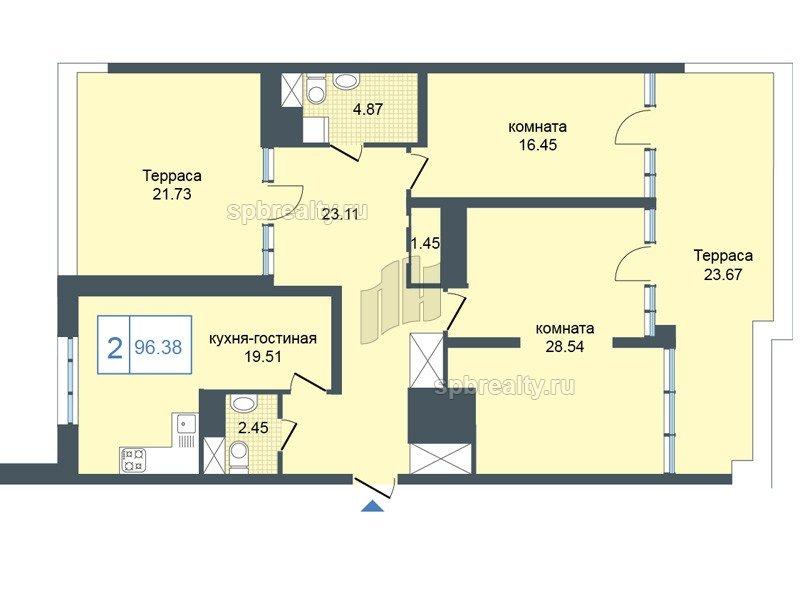 Планировка Двухкомнатная квартира площадью 97.1 кв.м в ЖК «Триумф Парк»