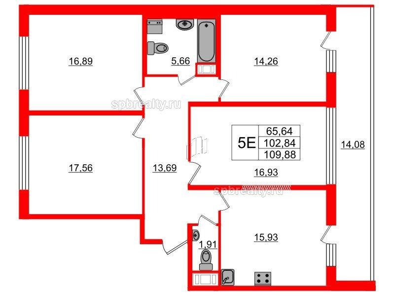 Планировка Четырёхкомнатная квартира площадью 102.84 кв.м в ЖК «Триумф Парк»