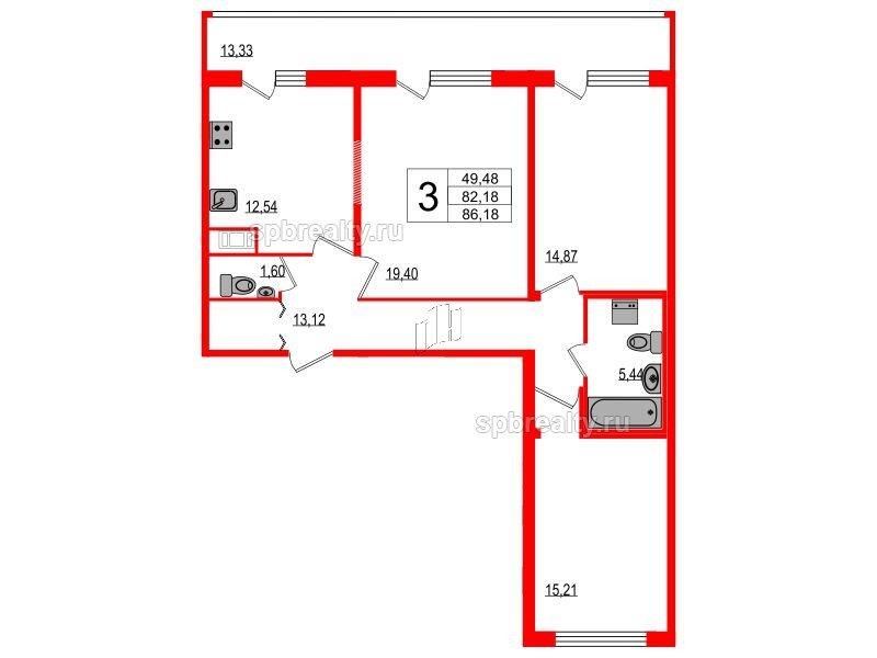 Планировка Трёхкомнатная квартира площадью 82.18 кв.м в ЖК «Триумф Парк»