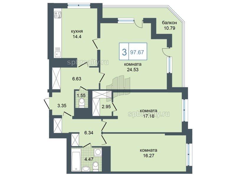 Планировка Трёхкомнатная квартира площадью 98.6 кв.м в ЖК «Триумф Парк»