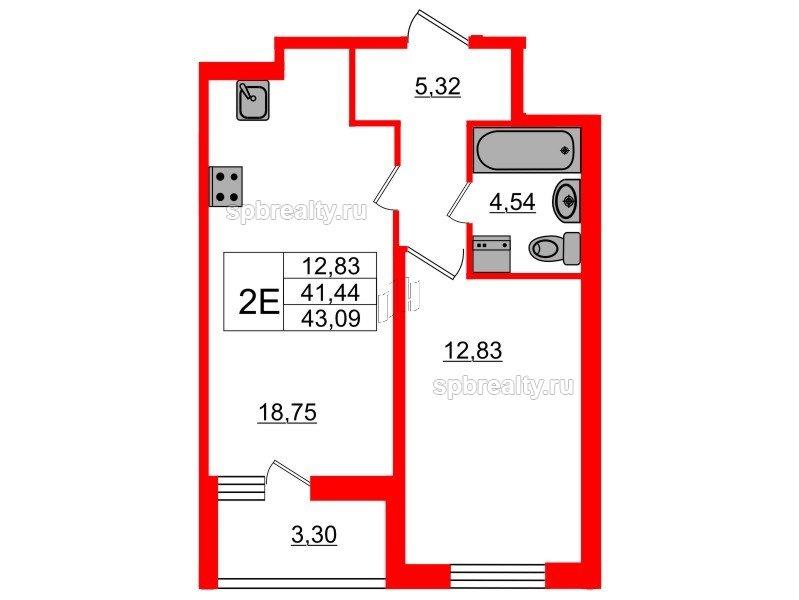 Планировка Однокомнатная квартира площадью 41.44 кв.м в ЖК «Триумф Парк»