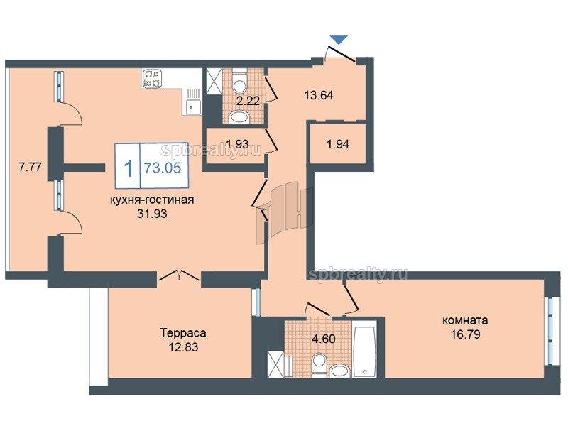 Планировка Однокомнатная квартира площадью 75 кв.м в ЖК «Триумф Парк»