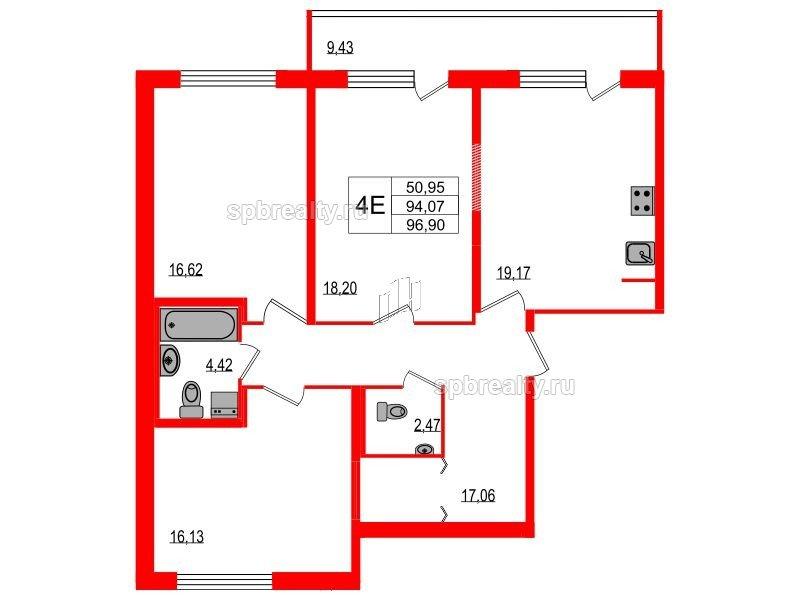 Планировка Трёхкомнатная квартира площадью 94.07 кв.м в ЖК «Триумф Парк»