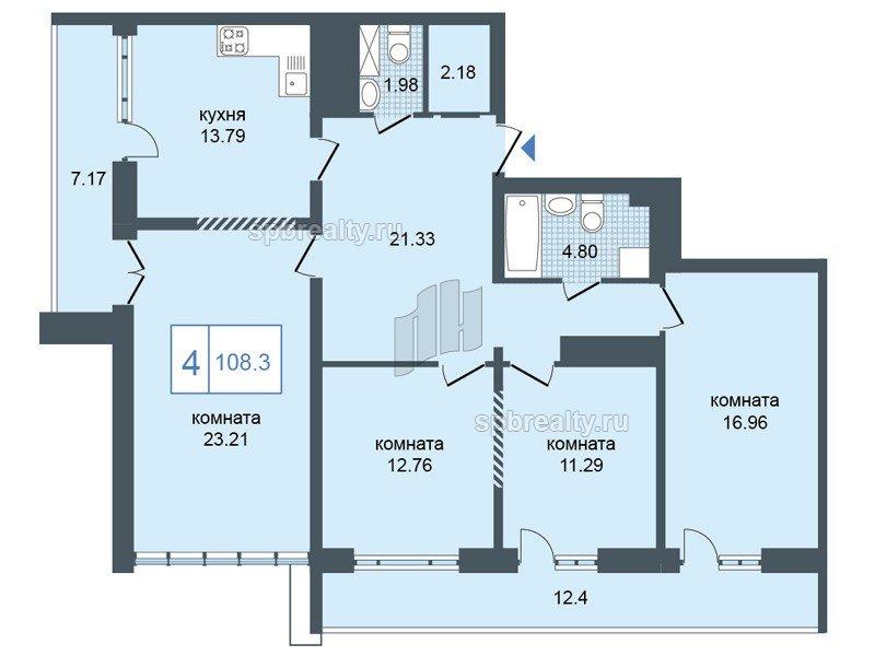 Планировка Четырёхкомнатная квартира площадью 108.3 кв.м в ЖК «Триумф Парк»