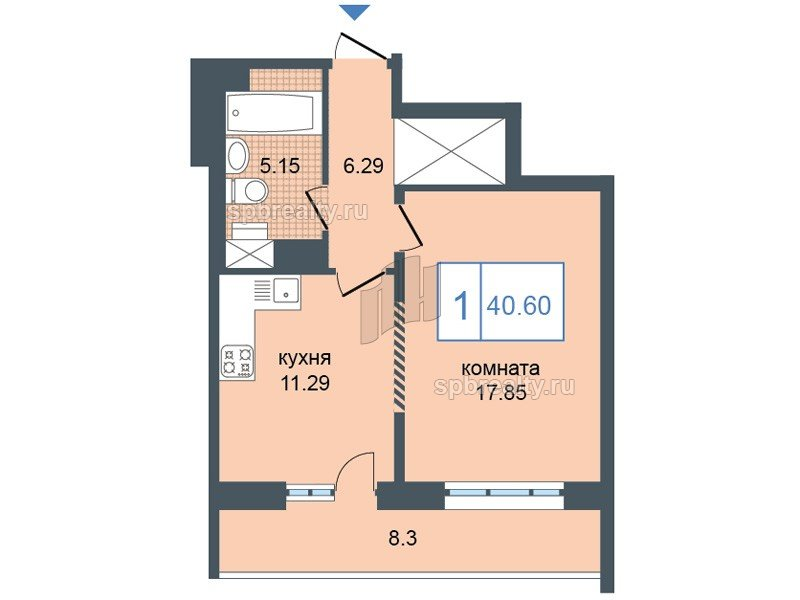 Планировка Однокомнатная квартира площадью 40.6 кв.м в ЖК «Триумф Парк»