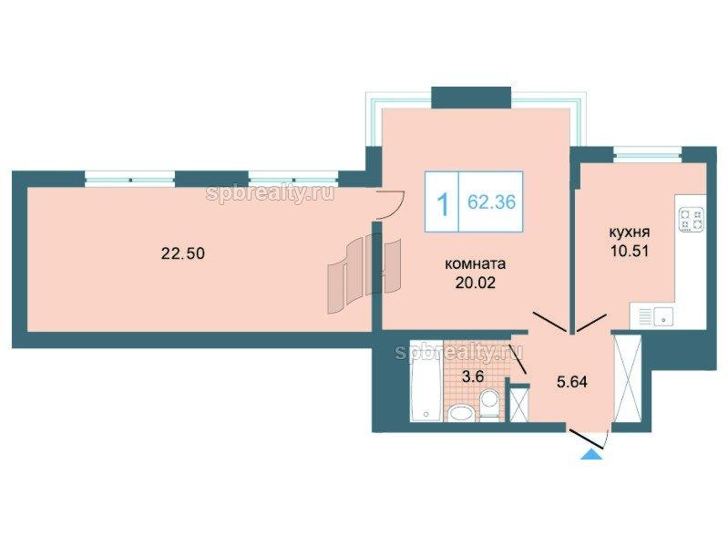 Планировка Однокомнатная квартира площадью 62.7 кв.м в ЖК «Триумф Парк»