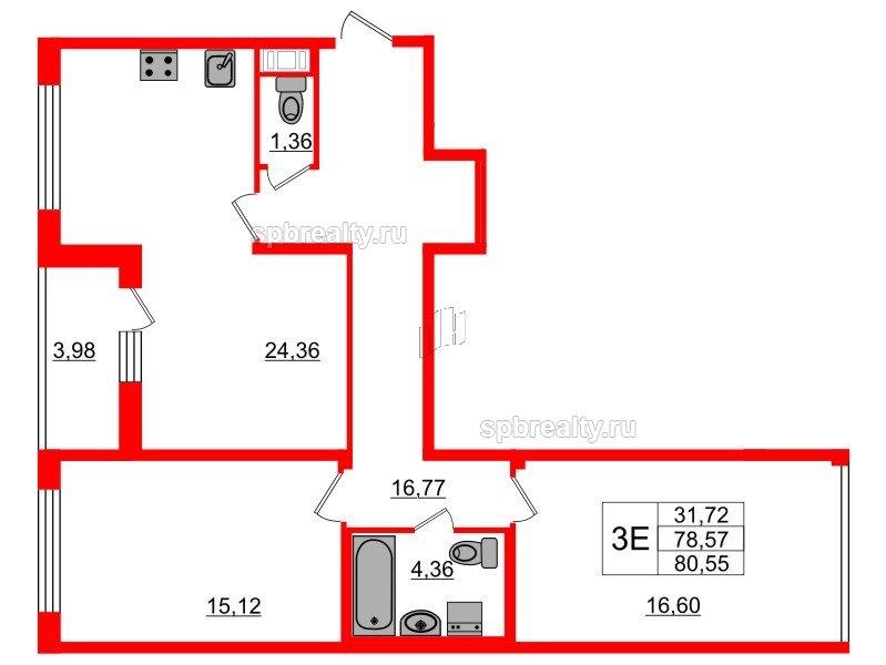 Планировка Двухкомнатная квартира площадью 78.57 кв.м в ЖК «Триумф Парк»