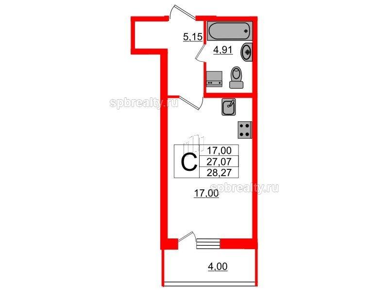 Планировка Студия площадью 27.06 кв.м в ЖК «Триумф Парк»
