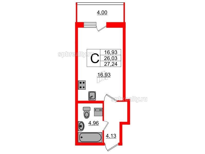 Планировка Студия площадью 26.03 кв.м в ЖК «Триумф Парк»