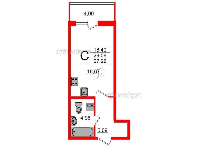 Планировка Студия площадью 26.73 кв.м в ЖК «Триумф Парк»
