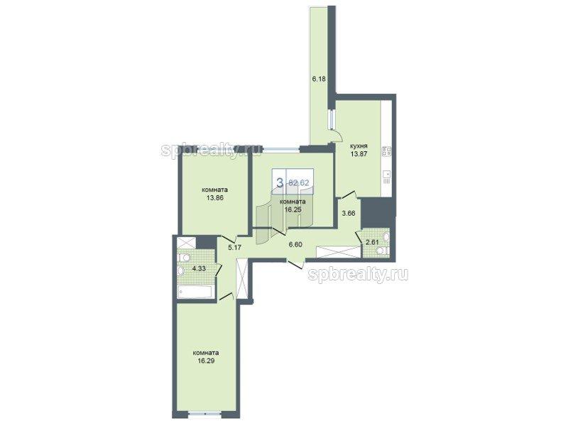 Планировка Трёхкомнатная квартира площадью 83.5 кв.м в ЖК «Триумф Парк»