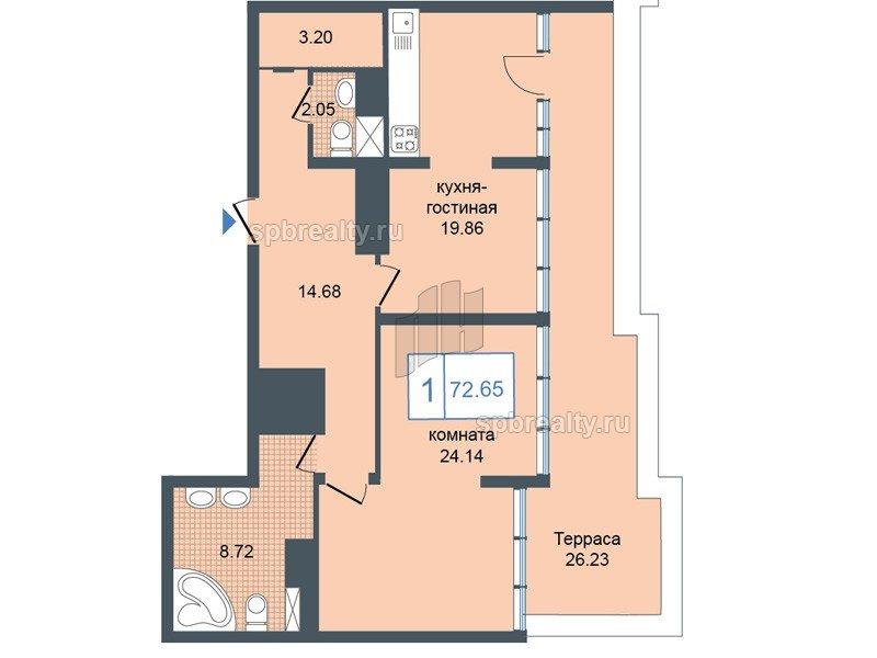 Планировка Однокомнатная квартира площадью 72.65 кв.м в ЖК «Триумф Парк»