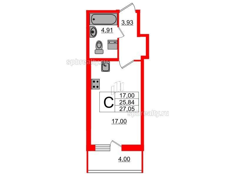Планировка Студия площадью 25.84 кв.м в ЖК «Триумф Парк»