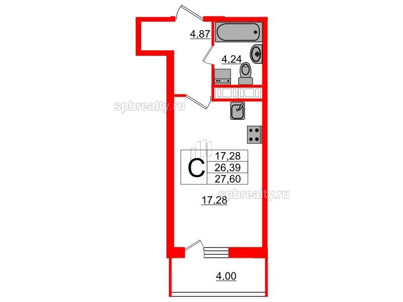Планировка Студия площадью 26.39 кв.м в ЖК «Триумф Парк»