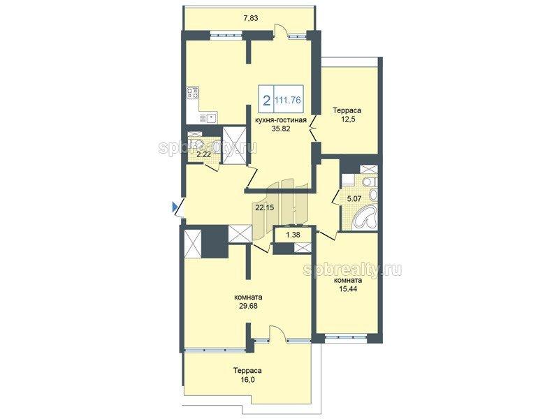 Планировка Двухкомнатная квартира площадью 113.9 кв.м в ЖК «Триумф Парк»