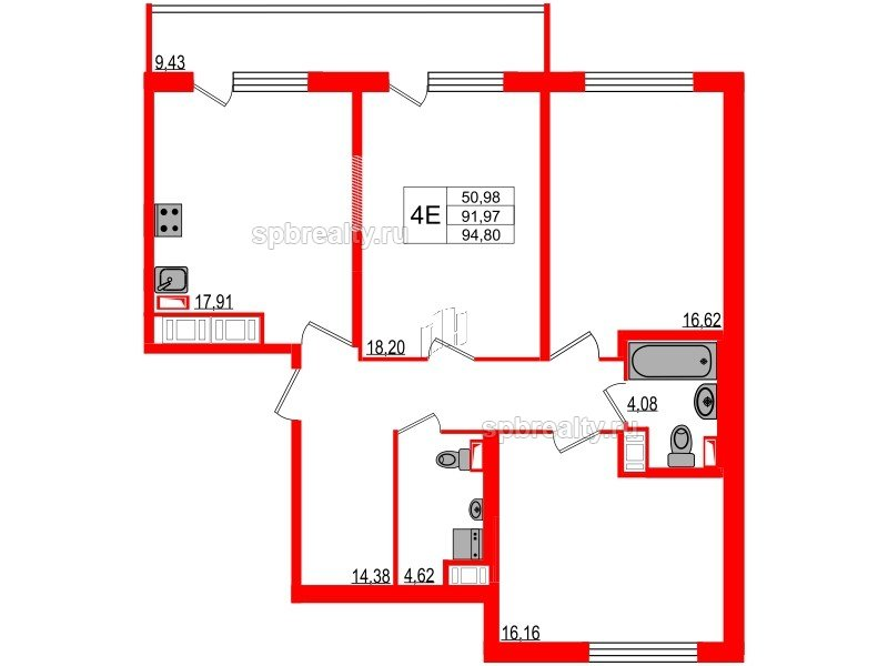 Планировка Трёхкомнатная квартира площадью 91.97 кв.м в ЖК «Триумф Парк»