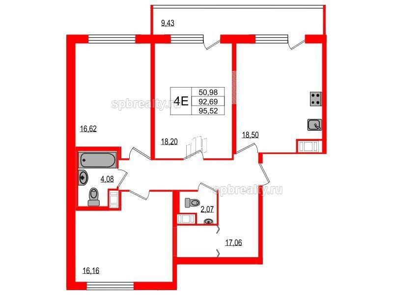 Планировка Трёхкомнатная квартира площадью 92.69 кв.м в ЖК «Триумф Парк»